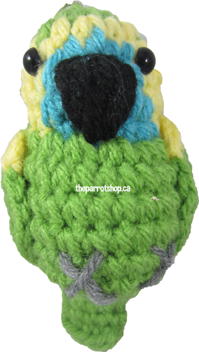 Handcrafted Parrot Keychain - Amazon (Blue Fronted)