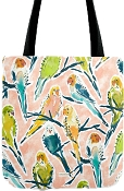 Bountiful Budgies Watercolour Tote Bag: PRE-ORDER