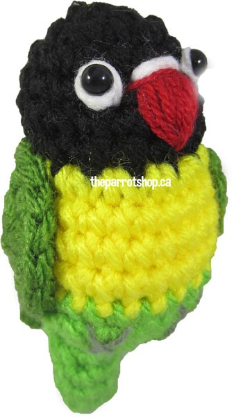 Handcrafted Parrot Keychain - Lovebird (Black Masked) - PRE-ORDER