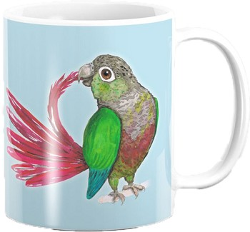 Green Cheek Conure Coffee Mug 11oz: PRE-ORDER