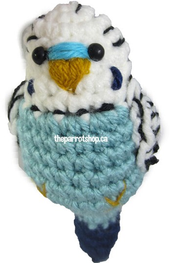 Handcrafted Parrot Keychain - Budgie (White & Blue)